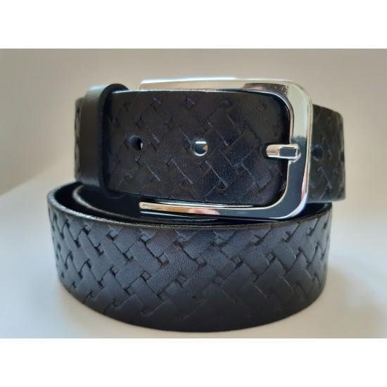 Ремень мужской кожаный черный с узором 3.5 см ширина длина 115 см