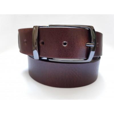 Ремень мужской кожаный коричневый Ретро 3.5 см ширина длина 125 см Итальянская коллекция JK
