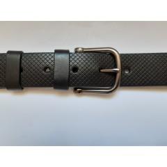 Ремень мужской кожаный черный с узором 4 см ширина длина 130 см Итальянская коллекция JK