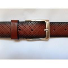 Ремень мужской кожаный светло коричневый с узором 3.5 см ширина длина 130 см Итальянская коллекция JK