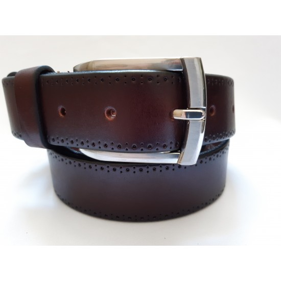 Ремень мужской кожаный коричневый с рисунком 3.5 см ширина длина 125 см Итальянская коллекция JK