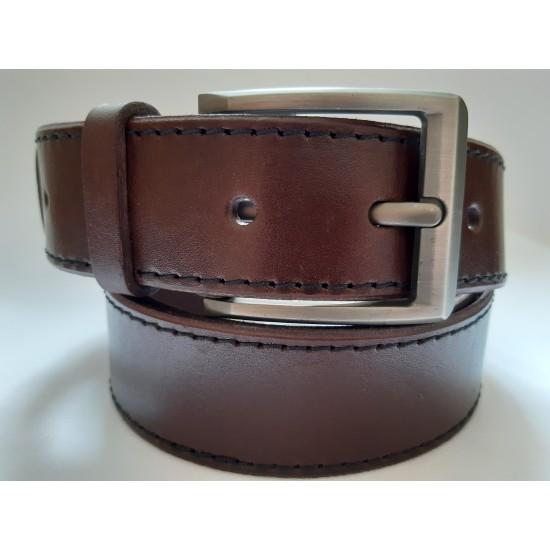 Ремень мужской кожаный коричневый с двумя строчками 4 см ширина 130 см длина