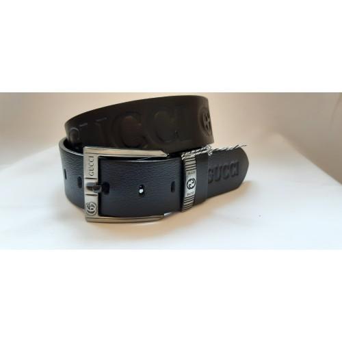 Ремень мужской кожаный черный GUCCI  4.5 см ширина длина 130 см