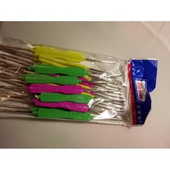 Крючки для вязания двухсторонние с пластиковой ручкой