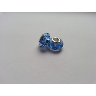 Металлическая подвеска шарм Пандора Ограненное Голубой Мурано