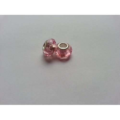 Металлическая подвеска шарм Пандора Ограненное Розовый Мурано