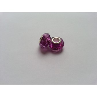 Металлическая подвеска шарм Пандора Ограненное Фиолетовый Мурано