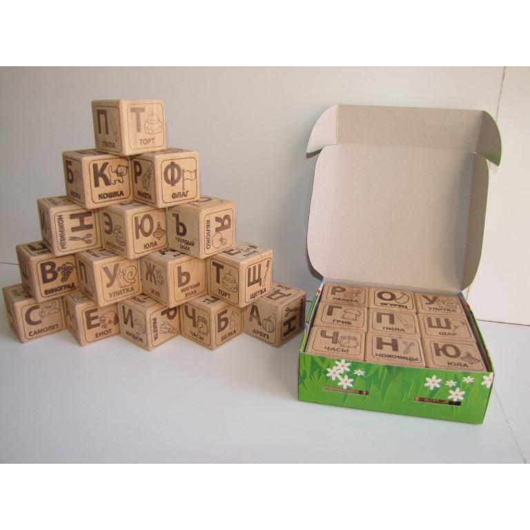Кубики Алфавит деревянные сосна, Украина