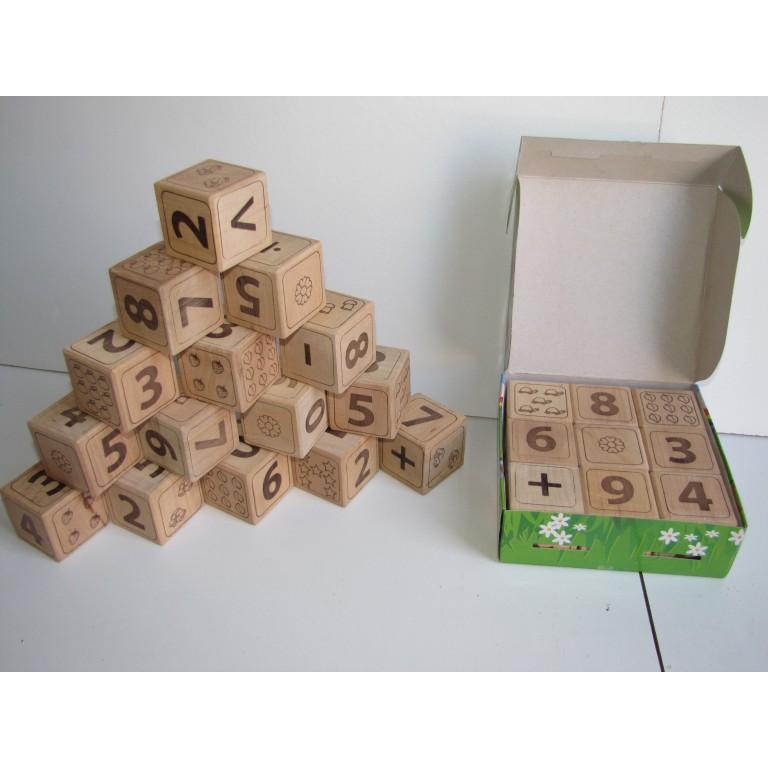 Кубики цифры деревянные сосна, Украина