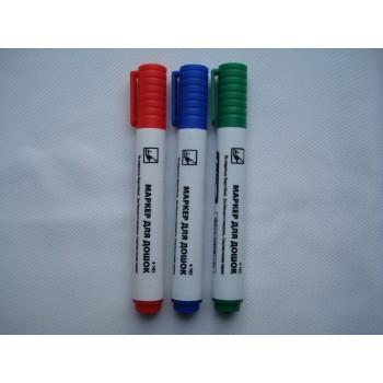 Комплект маркеров для досок из трех цветов синий зеленый красный